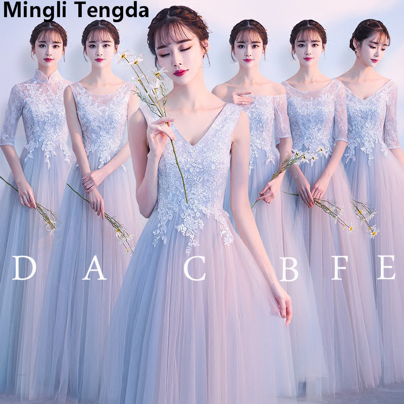 2019 New Simple Gray Sleeveless   Bridesmaid     Dresses   Appliques Lace Long   Dress   for Wedding Party Vestido De Noiva Mingli Tengda