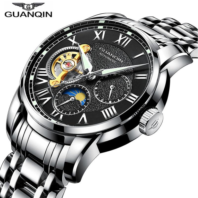 Reloj deportivo de GUANQIN, relojes automáticos de marca superior, reloj mecánico de negocios a prueba de agua con fase de Luna luminosa para hombre-in Relojes mecánicos from Relojes de pulsera    2