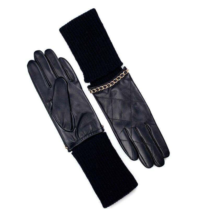 2206bc125822f Mode femme en cuir véritable avec tricot laine soirée long coude gants en  noir dans Gants et Mitaines de Vêtements Accessoires sur AliExpress.com |  Alibaba ...