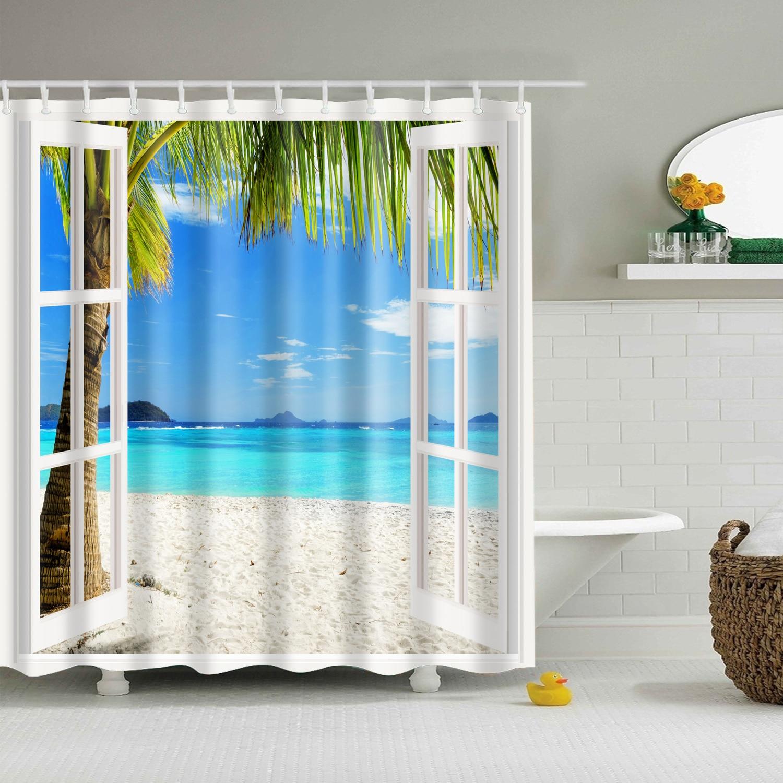 waterproof polyester fabric bathroom shower curtain beach scenery window view bath curtain large 180x200cm for bathroom curtain