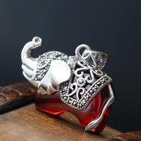 Restaurar maneiras antigas pequeno como pingente de prata tailandesa manualmente definir romã zircônio vermelho 925 pingente de prata esterlina