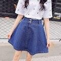 Botão de cintura alta saia jeans uma saia expansão busto saia jeans saia curta saia médio feminino