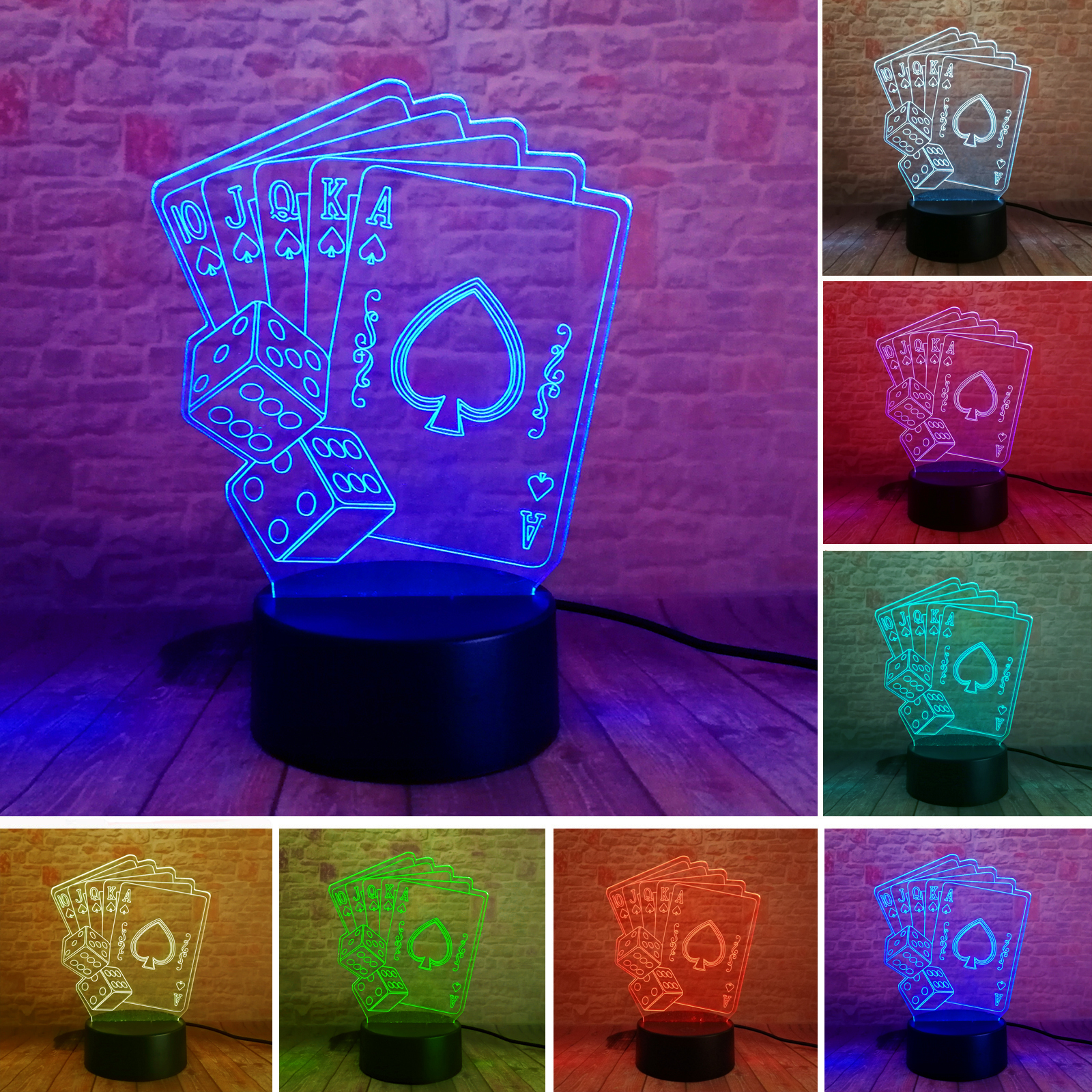New Texas Hold EM Dadu Sekop Poker Bermain 7 Warna Peredupan Gradien Lampu Led Home Cafe Bar Dekorasi Xmas Hadiah Drop Pengiriman