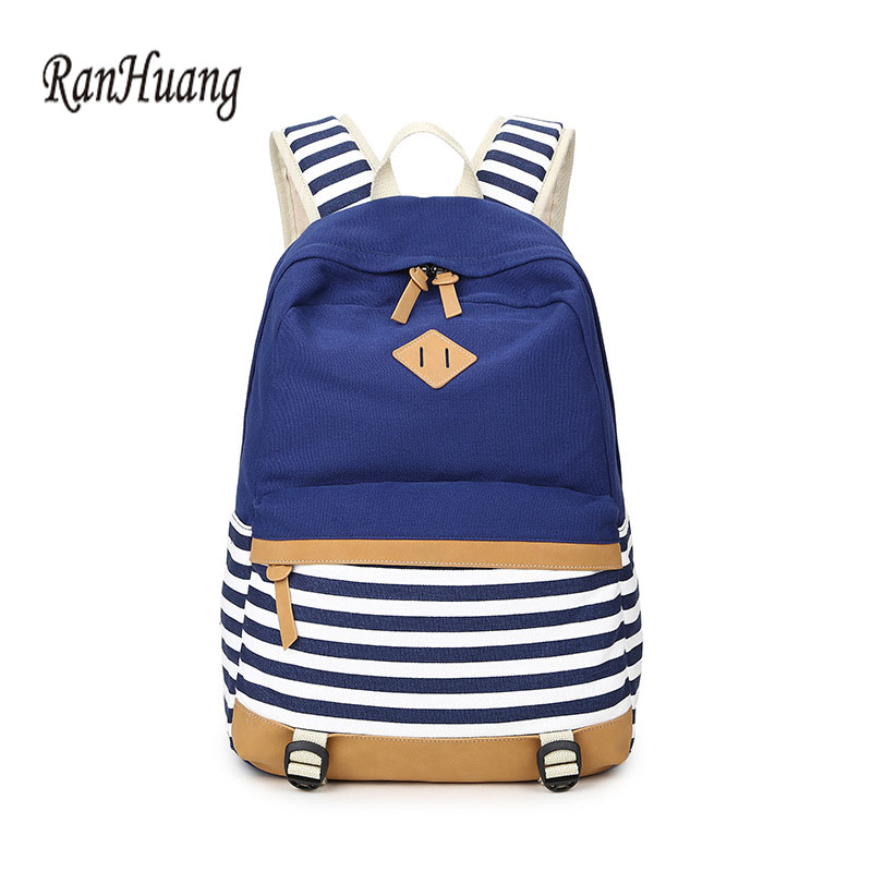 RanHuang Women Canvas Backpack Striped Printing Backpack School Bags For Teenage Girls Ladies Travel Bags mochila feminina A1021 ranhuang women casual canvas backpack new 2017 women s fashion backpack school bags for teenage girls mochila feminina a695