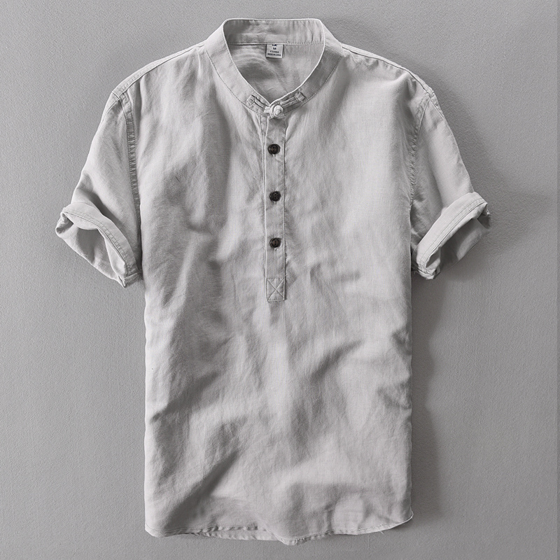 2019 Summer Cotton Linen Shirt Casual Men's Short Sleeved Shirts Breathes Cool Business Shirt High Quality Pullover Shirt