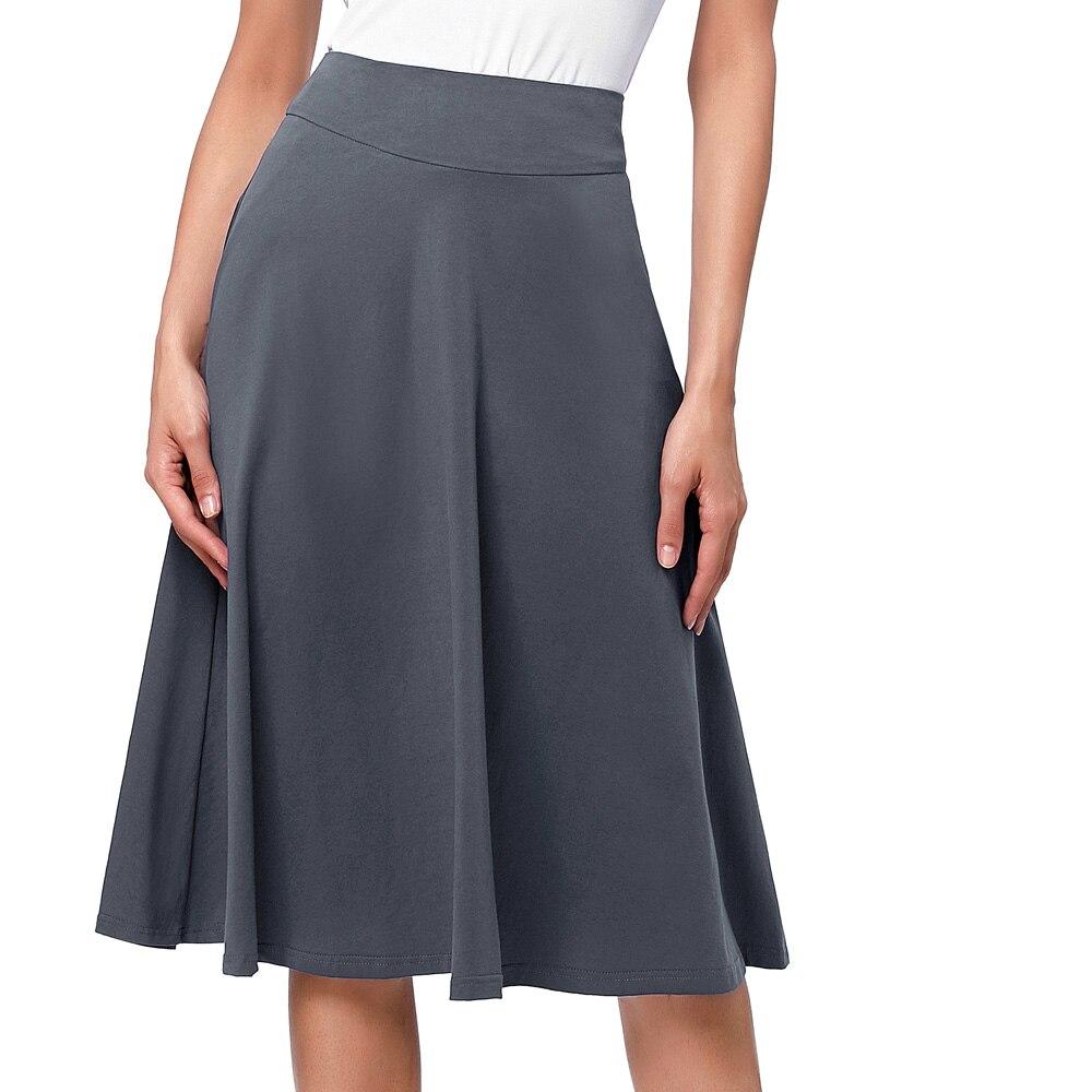 595d24c77 2019 faldas de moda de verano para mujer Oficina falda de cintura alta  Saias faldas jupe elegante Vintage algodón señoras Falda plisada Midi