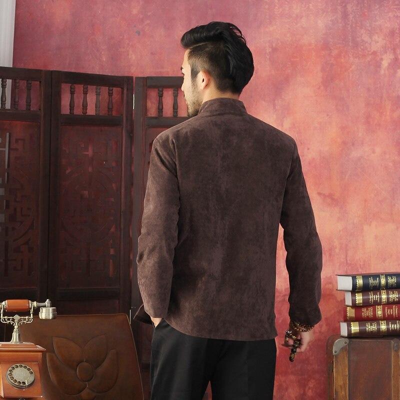 Koffie Traditionele Chinese mannen Kung u Jasje shirt Borduren met Dragon ML XL XXL XXXL Groothandel retail-in Jassen van Mannenkleding op  Groep 2