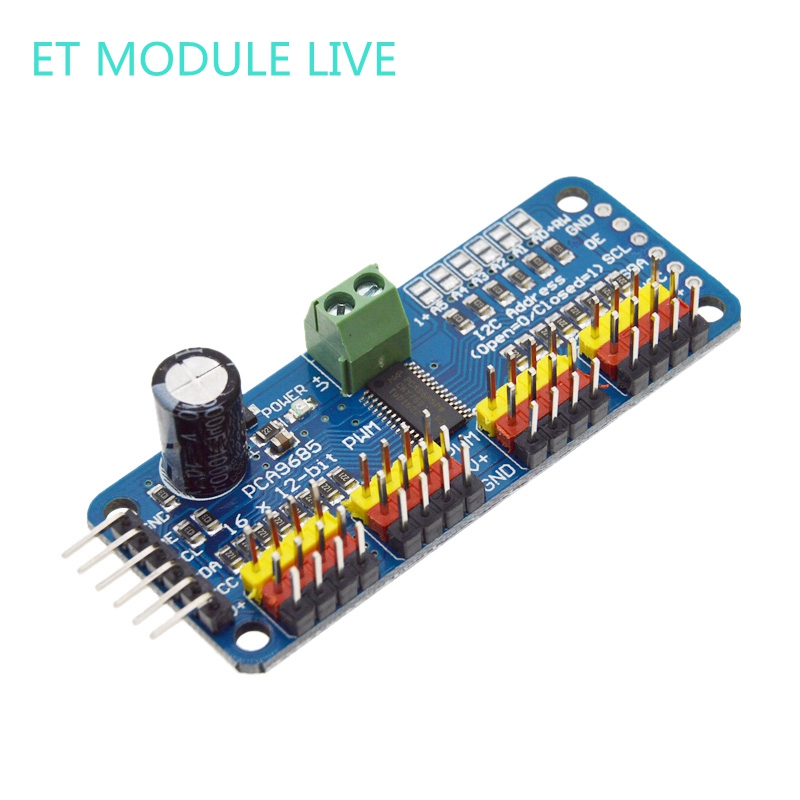 16 Channel 12-bit PWM/Servo Driver - I2C interface - PCA9685 for Arduino Raspberry Pi DIY Servo Shield Module