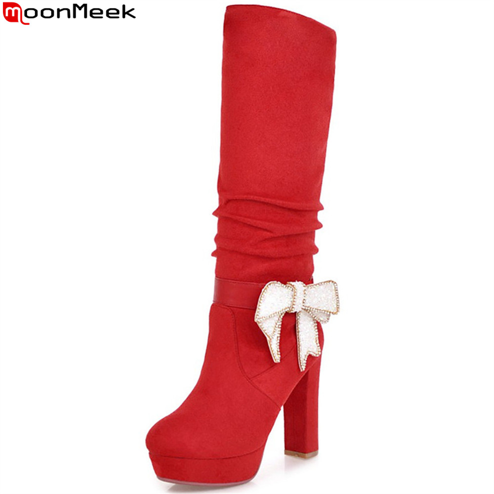 MoonMeek fashion winter new Arrival women boots round toe platform ladies boots thick heel flock butterfly knot knee high boots enmayer green vintage knight boots for women new big size round toe flock knee high boots square heel fashion winter motorcycle