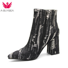 A-BUYBEA  2018 New Women Ankle Boots High Square Heel Denim Upper Zip Pointed Toe Classic Fashion Woman Shoes Plus Size 34-43
