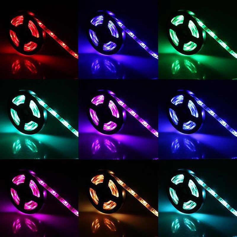 LED strip Natal USB 5 V 12 V 1 M 2 M 5 M Kabel Power LED strip cahaya lampu SMD 3528 meja Decor lampu pita TV Latar Belakang Pencahayaan