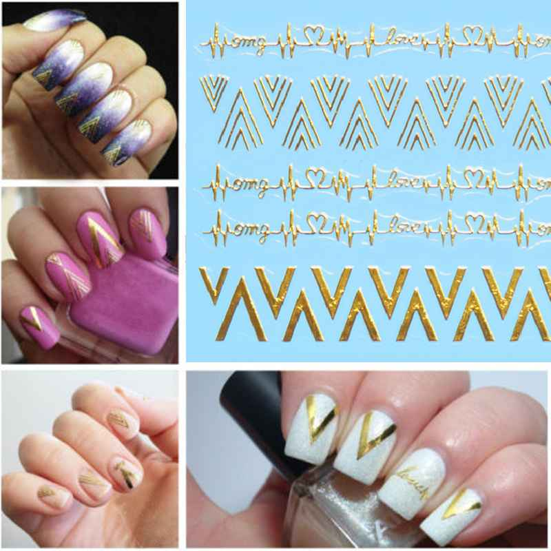 2017 Hot Sale Chic V Shape 3D Nail Stickers Decals Nail Art Manicure ...