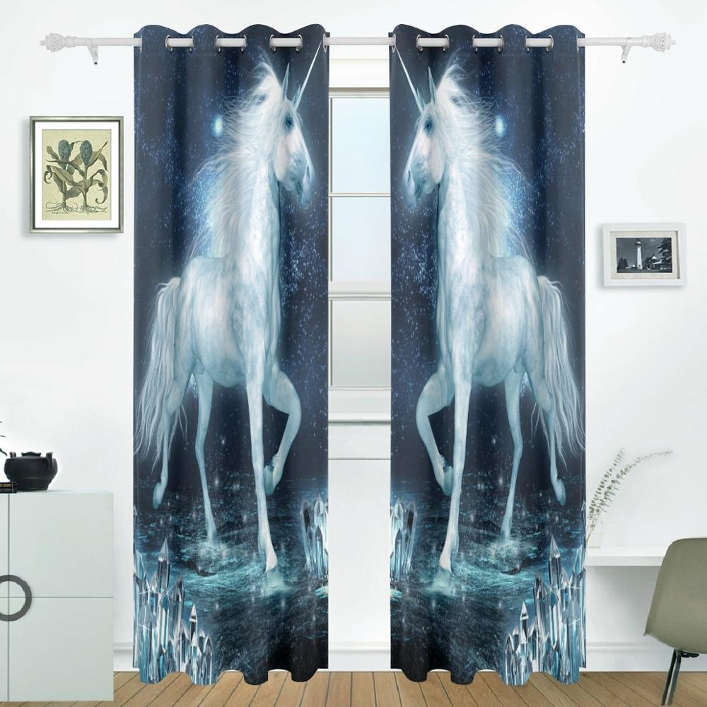 Unicorn Running Curtains Drapes Panels Darkening Blackout Grommet Room Divider for Patio Window Sliding Glass Door 55x84 InchesUnicorn Running Curtains Drapes Panels Darkening Blackout Grommet Room Divider for Patio Window Sliding Glass Door 55x84 Inches