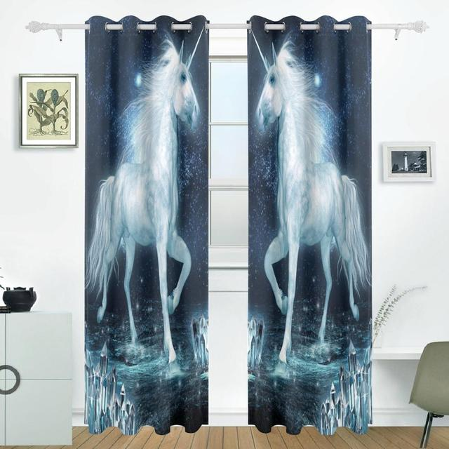Unicorn running curtains drapes panels darkening blackout grommet unicorn running curtains drapes panels darkening blackout grommet room divider for patio window sliding glass door planetlyrics Gallery