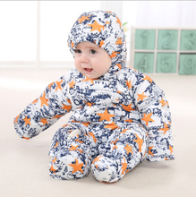 New2016 Baby Snowsuit Down Coat Romper Newborn Snowsuit Snow Wear Down Jacket Outwear Winter Warn Black Baby Clothing Coveralls