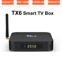 Antenna Android Smart TV Box 4GB RAM 32GB ROM Dual Band Wifi 2.4G/5G Allwinner H6 Quad Core 4K Streaming Media Player Bluetooth