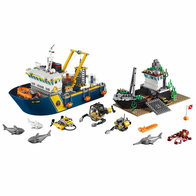 Block City Deep Sea Exploration Ship 774Pcs Model Building Blocks Toys for Children Assemble City Boat Figures Kids Gifts