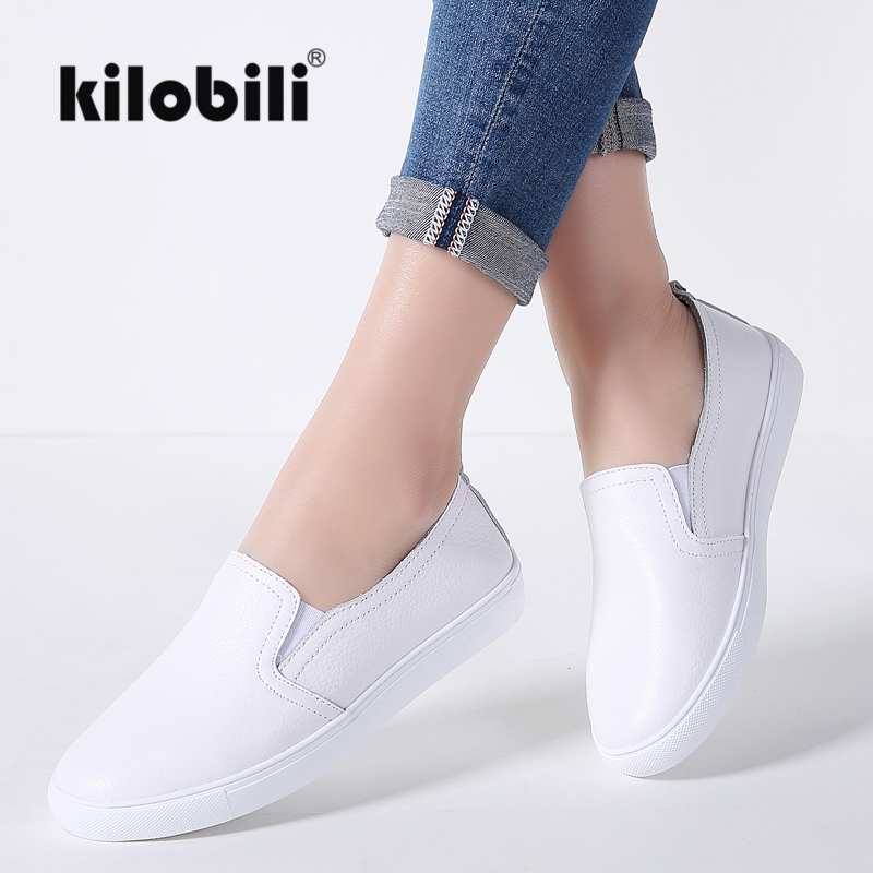 kilobili 2018 Spring Women basic Sneakers flats shoes genuine   leather   rubber sole shallow loafers sneaker ladies ballet shoes