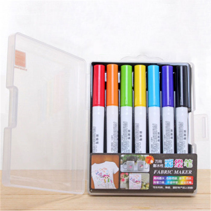 7 Colors/Set Fabric Marker Watercolor Art Pen Ceramic T-shirt DIY Painting Colored Marker Stationery Art School Supplies t art блузка
