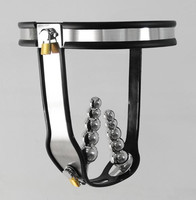 New T Model stainless stee male chastity belt device with 4 anal beads double plug sex toys bondage restraints sexy toys