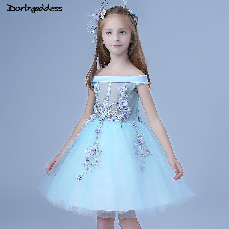 Blue 2018   Flower     Girl     Dresses   For Weddings Ball Gown Lace 3D   Flowers   First Communion   Dresses   Pageant   Dress   For Little   Girls