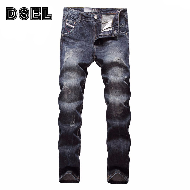 DSEL Brand Men Jeans High Quality Slim Fit Vintage Dark Color Denim Leisure Pants Ripped Jeans Men Casual Classic Man Trousers
