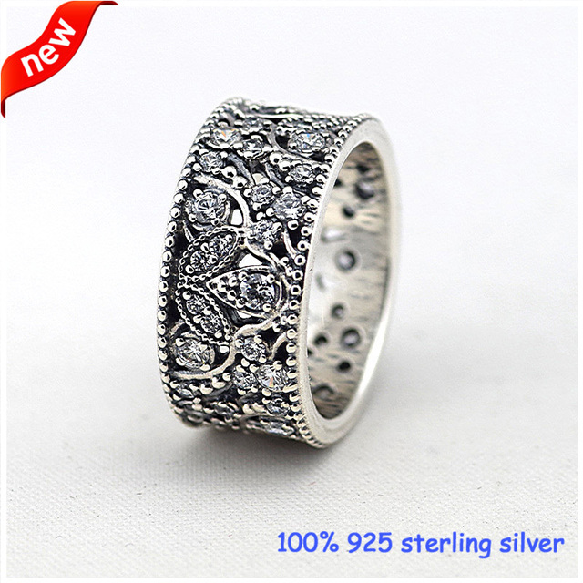 Compatible With European Jewelry Shimmering Leaves Silver Rings With CZ 100% 925 Sterling Silver DIY Jewelry Wholesale 11R062