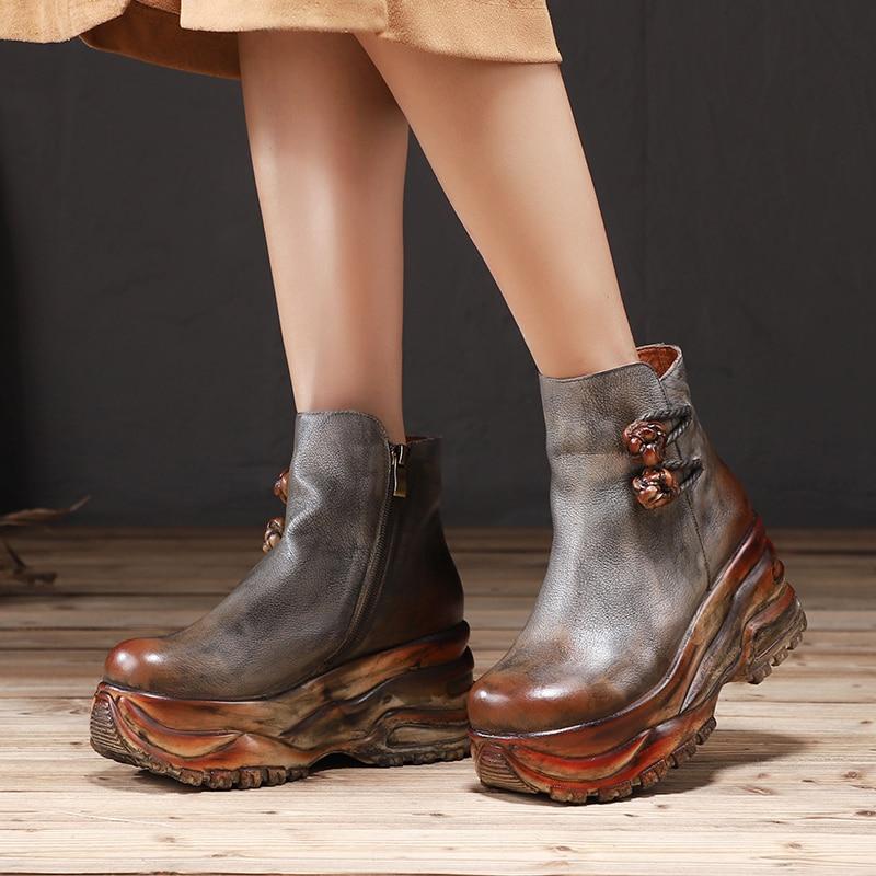 VALLU/Роскошные женские туфли на высокой платформе, Новое поступление, женская обувь с цветами, однотонный светильник, женские ботильоны в национальном стиле|Полусапожки|   | АлиЭкспресс
