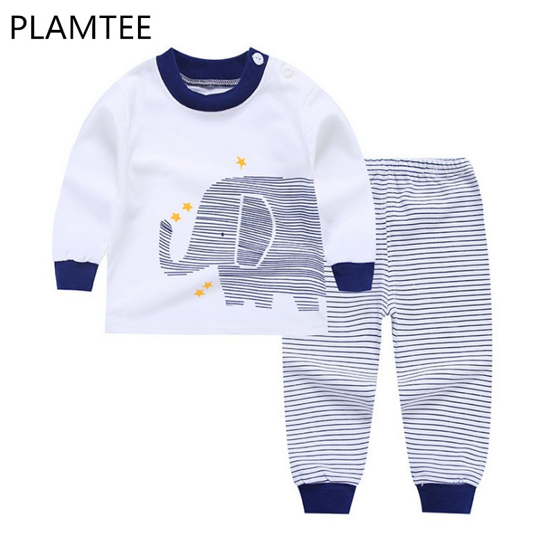 PLAMTEE New Children Long Sleeves Cartoon Printing Pajamas Suits Cotton Cute Baby Boys And Girls Home Sets Child Clothes 2018