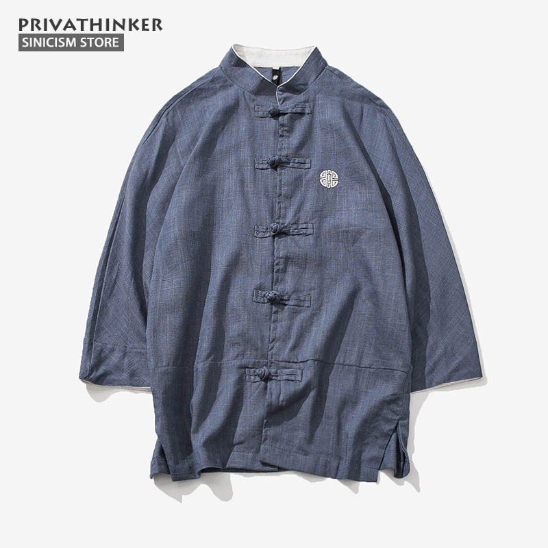 Sinicism Store Cotton Linen Embroidery Shirts Men Three Quarter Sleeve Shirts Chinese Traditional Clothes Button Male Shirt Рубашка