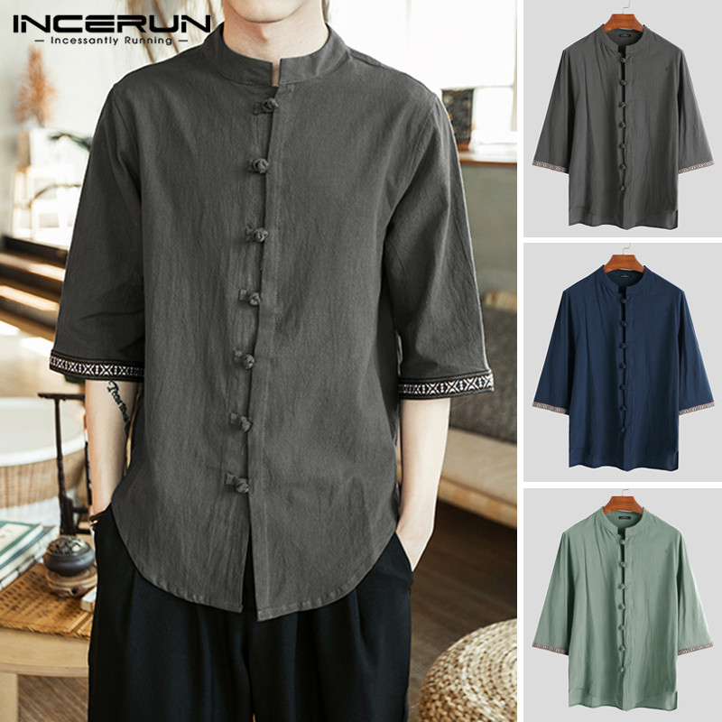INCERUN Chinese Style Men Shirt Cotton Retro Button 3/4 Sleeve Male Dress Shirts Leisure Stand Collar Tops Camisa Plus Size 2020