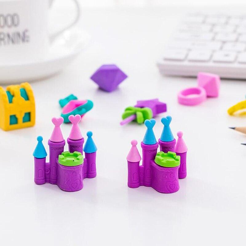 4 Pcs/set Kawaii Cute Princess Castle Series Eraser Child Gift Rubber Stationery Set Pencil Writing Correction Supplies