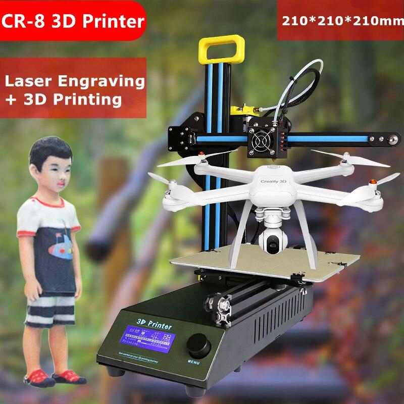 Новинка 2017 года Высокое качество Desktop 3D-принтеры DIY creality CR-8 3D-принтеры комплект с бесплатным PLA нити 3D-принтеры с лазерной гравировкой