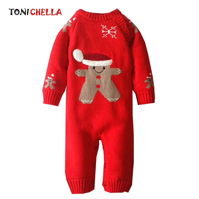 Baby Winter Romper Cotton Padded Thick Newborn Baby Girl Long Sleeve Warm Jumpsuit Infant Kid Climb Clothes Christmas GiftCL2052