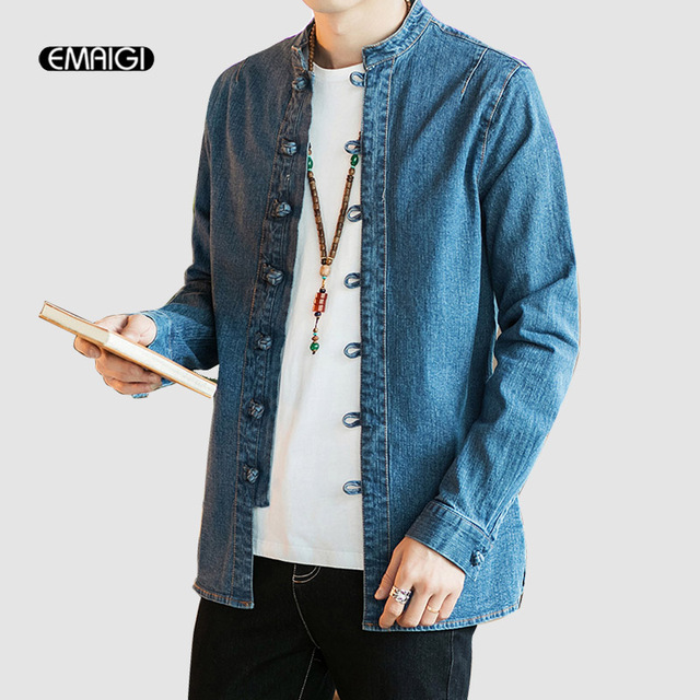 19085cdd77 Men Chinese Style Long Sleeve Denim Shirt Male Fashion Casual Jeans Shirt  Coat Spring Autumn Outerwear Overcoat
