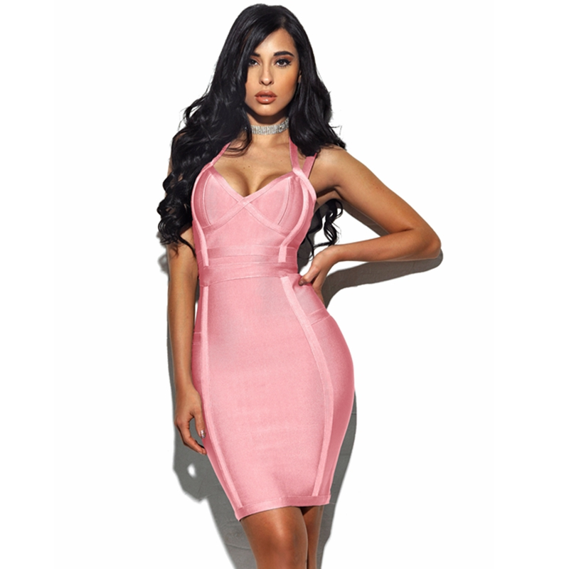2018 Newest Grey Pink Spaghetti Strap Bandage Dress V Neck Chic Summer Bodycon Backless Sexy Celebrity Night Party Vestidos