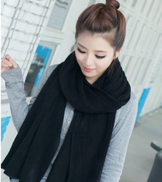 Korean Simple Solid Color Warm Winter #Scarf #Women Elastic Knitted Wool Ring Scarves #fashion #boygrl 3