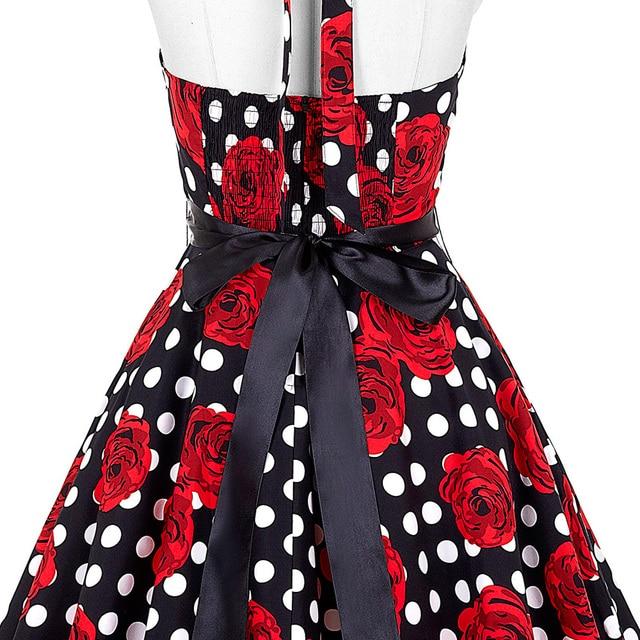 Belle Poque Audrey Hepburn Style Vintage Dresses Summer Plus Size Casual Party Robe Rockabilly Floral 50s Big Swing Retro Dress