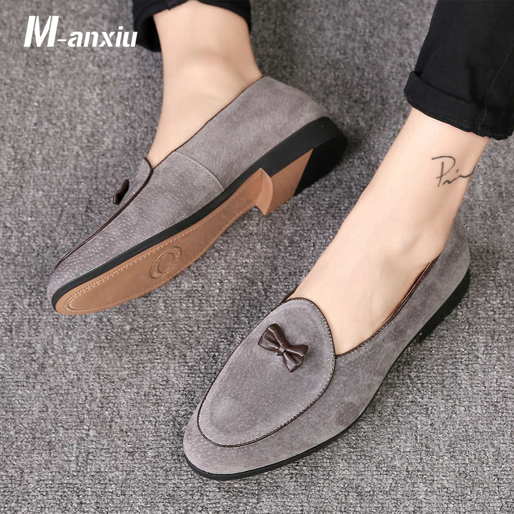 M-anxiu Men Fashion Suede Leather Doug Shoes Casual Moccasin Flat Bowknot Slip-On Driver Shoes Dress Loafers Night Club Shoes slip-on shoe