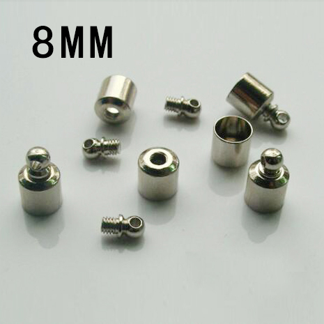 25PCS 8MM METAL SCREW CAPS NICKEL-PLATED,JEWELRY Finding