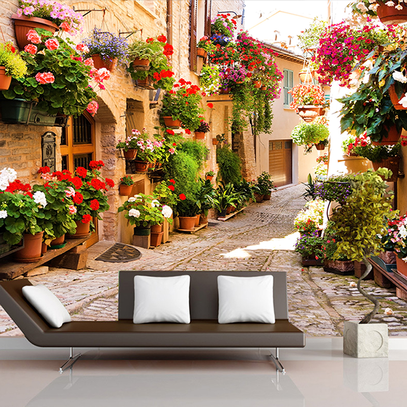 3D Wall Mural For Wall Pastoral Town Road House With Flowers Wallpaper Living Room TV Sofa Backdrop 3d wallpaper fashion circle flowers birds large mural wallpaper living room bedroom wallpaper painting tv backdrop 3d wallpapers for wall