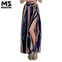 Mooishe Summer Casual Women Stripes Long Pants High Waist Loose Blue Lace Up Belt Side Split