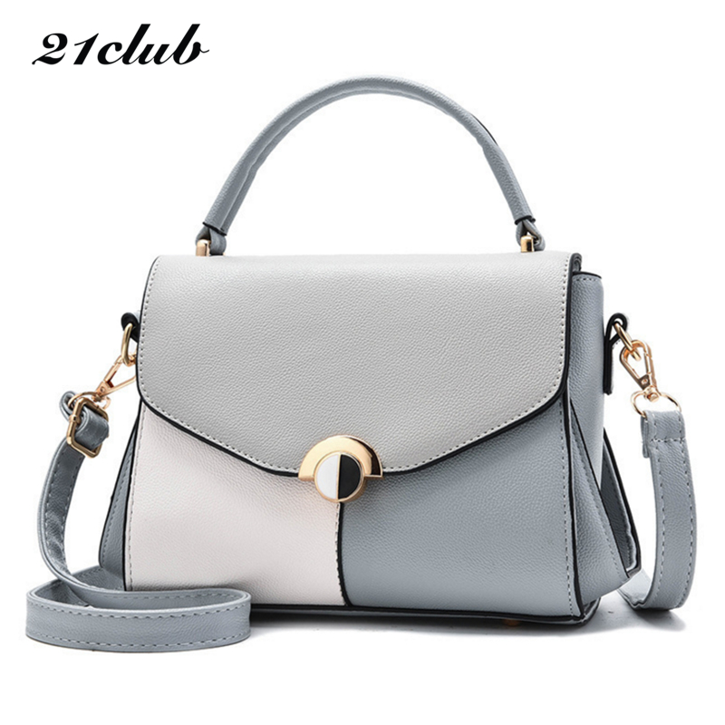 21club brand women casual panelled totes sequined rivet handbag hotsale ladies shopping purse messenger crossbody shoulder bags