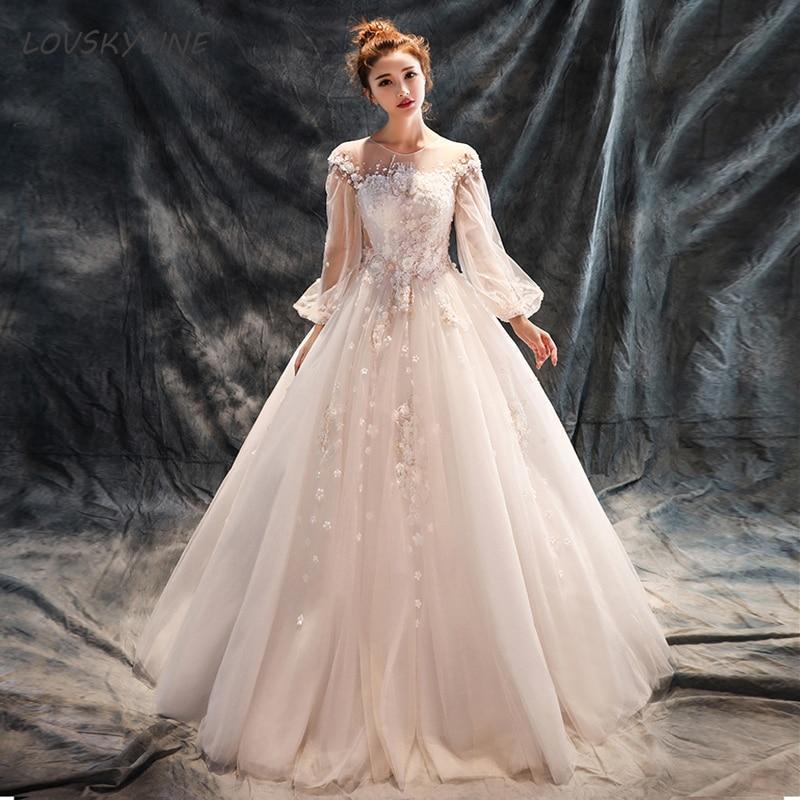 Кружевное свадебное платье es с круглым вырезом и длинными пышными рукавами с цветочной аппликацией принцессы Свадебное платье Новое посту