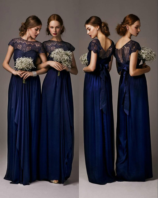 8b7aeedda7ef 2016 Newest Navy Blue A Line Chiffon Long Bridesmaid Dresses with Crew Neck Cap  Sleeves Ruffles Lace Boho Maid of Honor Gowns