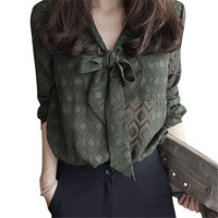 Spring Hot Solid Color Lapel Long Sleeve Plus Size Chiffon Blouse Shirt Bow Women Casual Loose
