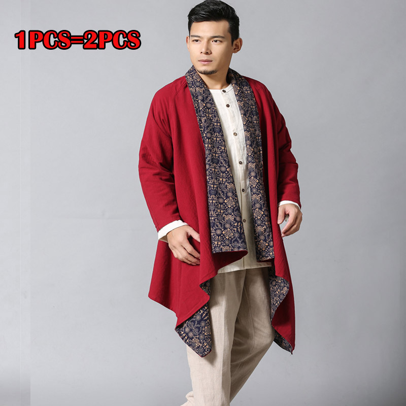 High Quality Cotton Linen Avant-Garde Mens Tops Unbalance Designers Outwear Jacket Loose Long Cardigan Draping Shawl Trendy Cape