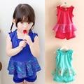 2016 Hot Summer Sweet Ruffle Hem Girls Clothing Baby Child Sleeveless T-Shirt Short Trousers Set