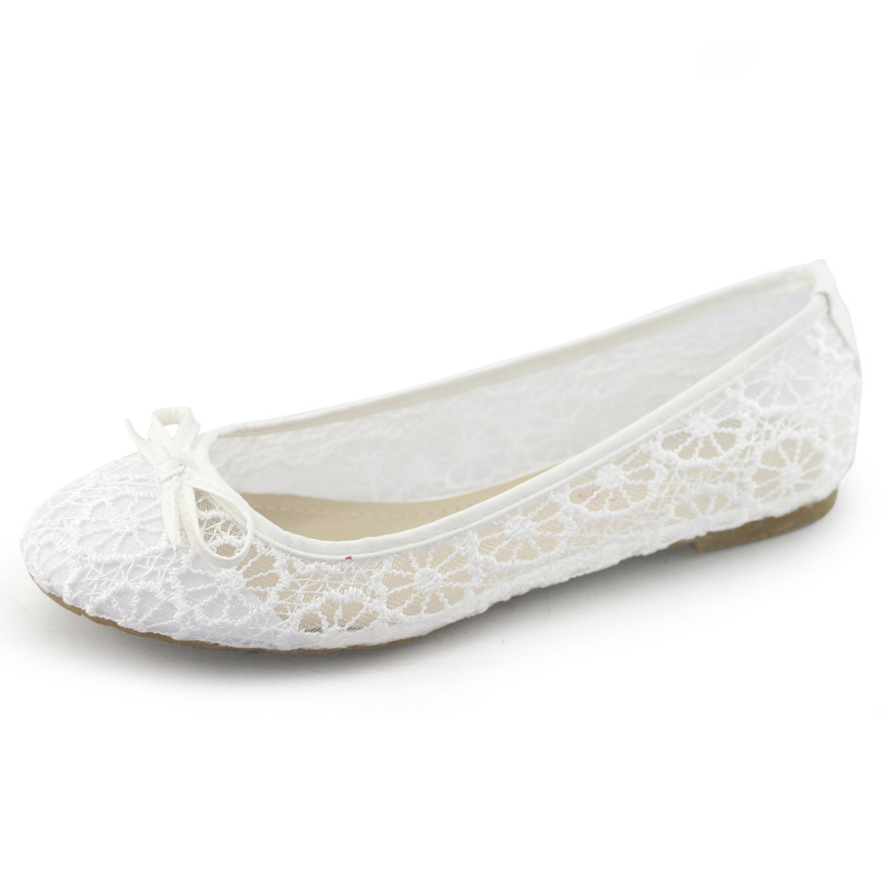 Wedding Table White Flats aliexpress com buy handmade laras brand lace white flats women comfort shoes closed toe rubber slip on high quality wedding part