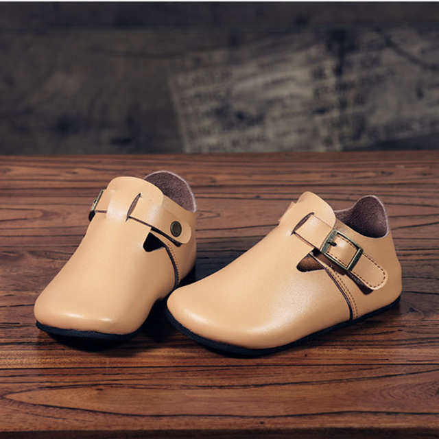 NewArrival 2016 Autumn Children's Soft Leather Shoes Boys T-bar Sheep Leather Shoes Girls Fashion Buckle Shoes Cork Leather shoe
